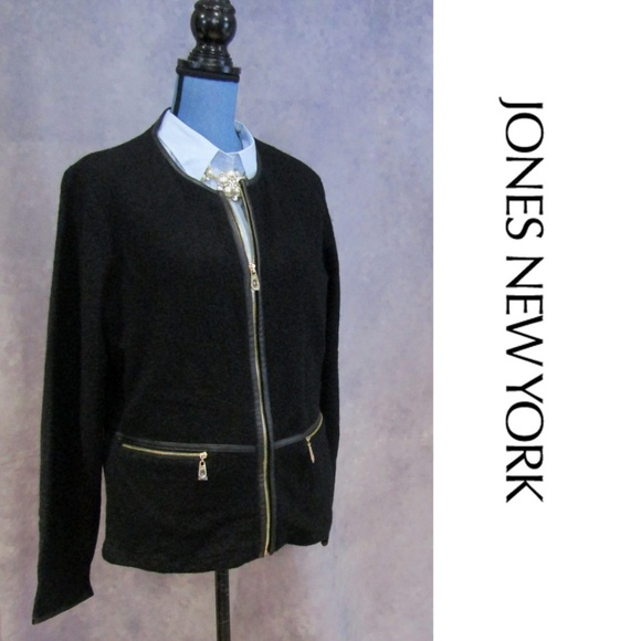 b7bb695b4 NWOT Jones New York Black Zip Jacket Faux Leather